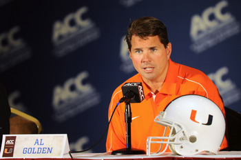 July 23, 2012; Greensboro, NC, USA; Head coach Al Golden of the Miami Hurricanes football team talks to reporters during the ACC media day at the Grandover Resort in Greensboro NC. Mandatory Credit: Sam Sharpe-US PRESSWIRE