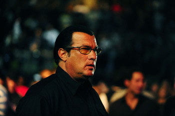 Aug. 7, 2010; Oakland, CA, USA; Movie actor Steven Seagal during the middleweight title bout in UFC 117 at the Oracle Arena. Mandatory Credit: Mark J. Rebilas-US PRESSWIRE