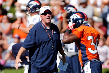 ENGLEWOOD, CO - JULY 26:  Head coach John Fox of the Denver Broncos oversees practice during training camp at the Paul D. Bowlen Memorial Broncos Centre at Dove Valley on July 26, 2012 in Englewood, Colorado.  (Photo by Doug Pensinger/Getty Images)