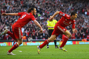 Stewart Downing celebrates after goal against Stoke in FA Cup quarterfinal