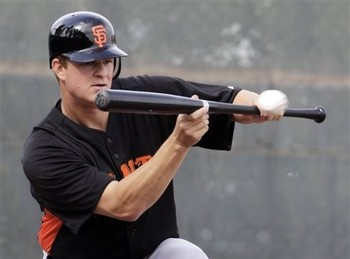 Matt Cain attempts a bunt. [Not pictured: successful bunt]