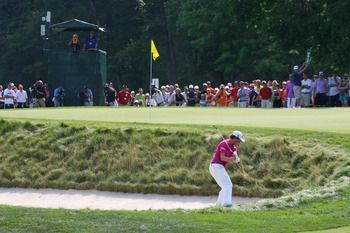 WHITE SULPHUR SPRINGS, WV - JULY 8: Webb Simpson hits his third shot on the 12th hole during the final round of the Greenbrier Classic at the Old White TPC on July 8, 2012 in White Sulphur Springs, West Virginia. (Photo by Hunter Martin/Getty Images)
