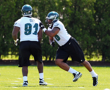 PHILADELPHIA, PA - MAY 12: Brandon Washington #78 maneuvers around Fletcher Cox #91 of the Philadelphia Eagles during rookie mini-camp at their practice facility on May 12, 2012 in Philadelphia, Pennsylvania. (Photo by Rich Schultz /Getty Images)