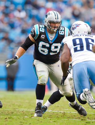 Jordan Gross (69) is the Panthers' starting left tackle with Pro Bowl potential.
