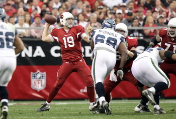 GLENDALE, AZ - JANUARY 01:  Quarterback John Skelton #19 of the Arizona Cardinals throws a pass during the NFL game against the Seattle Seahawks at the University of Phoenix Stadium on January 1, 2012 in Glendale, Arizona.  The Cardinals defeated the Seah