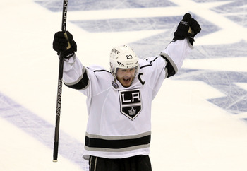 Dustin Brown will look to lead the Kings in defending their Stanley Cup title this season