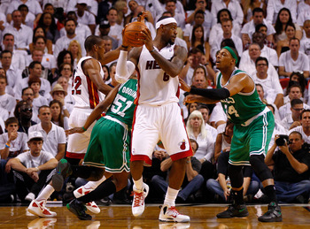 MIAMI, FL - JUNE 09:  LeBron James #6 of the Miami Heat with the ball against Paul Pierce #34 of the Boston Celtics in the second quarter in Game Seven of the Eastern Conference Finals in the 2012 NBA Playoffs on June 9, 2012 at American Airlines Arena in