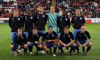England's U21 lineup against Israel, September 2011.