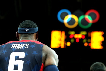 LONDON, ENGLAND - JULY 31:  Lebron James #6 of United States looks on prior to the game against Tunisia during the Men's Basketball Preliminary Round match on Day 4 of the London 2012 Olympic Games at Basketball Arena on July 31, 2012 in London, England.