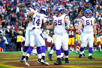 The Vikings celebrate a touchdown.