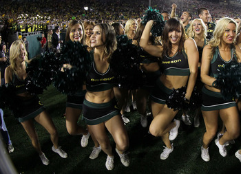 The Oregon Ducks cheerleaders always have lots to cheer about.