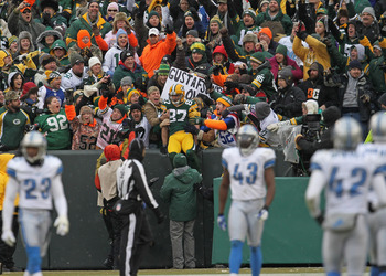 The Lambeau Leap is part of the Green Bay Packers experience.