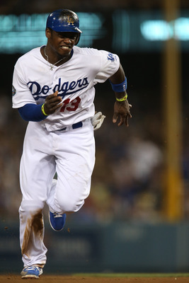 LOS ANGELES - AUGUST 03: Hanley Ramirez #13 of the Los Angeles Dodgers runs to third base against the Chicago Cubs at Dodger Stadium on August 3, 2012 in Los Angeles, California. (Photo by Josh Hedges/Getty Images)
