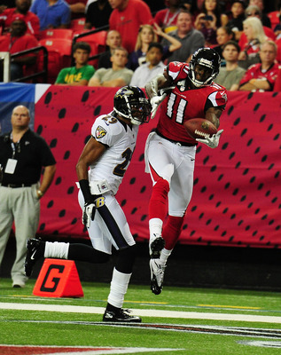 Falcons' wideout Julio Jones catches a touchown pass Thursday night vs. the Ravens