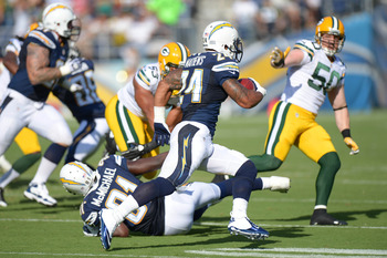 Chargers' running back Ryan Mathews (24) broke his clavicle in Thursday's win over the Packers