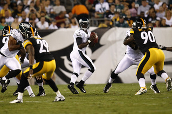 Eagles' quarterback Michael Vick had a short night vs. the Steelers on Thursday