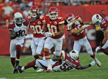 Peyton Hillis (40) was impressive in his debut with the Chiefs
