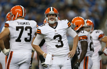 Brandon Weeden (3) had his ups and downs in his NFL debut at Detroit