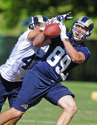 St. Louis native and Kirkwood High School grad Mike McNeill (89) is one of eight tight ends in Rams camp. He is still a long shot to make the team but made several impressive plays during a scrimmage at the Edward Jones Dome.