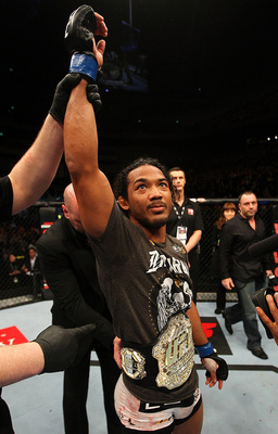 Former WEC lightweight champion Ben Henderson claimed the UFC belt by beating down Frankie Edgar. Photo by Al Bello/Zuffa LLC/Zuffa LLC via Getty Images.