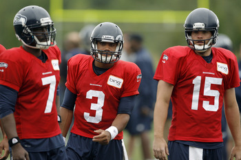 Tarvaris Jackson (left), Russell Wilson and Matt Flynn