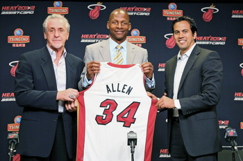 Ray Allen of the Miami Heat donning his new colors.