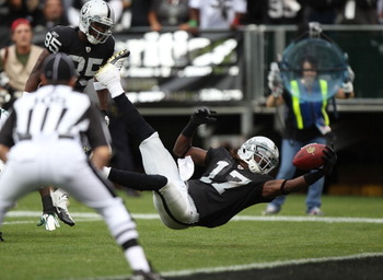Diving Denarius Moore and company have the speed to track down Palmer's long balls.