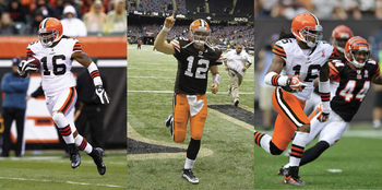 Left photo by Tyler Barrick/Getty Images. Middle photo: A mock-up of Colt McCoy wearing orange pants from NFL Uniform Concepts on Flickr. Right photo from ClevelandStrikesBack.com. All due acknowledgement to the NFL and Cleveland Browns.