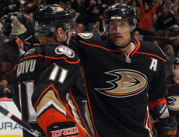Assistant captains Saku Koivu (left) and Teemu Selanne (right) celebrate a goal in Anaheim.