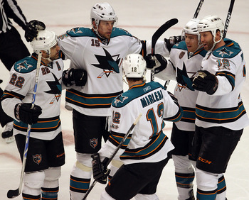 Members of the San José Sharks top power play unit celebrate a goal this postseason.