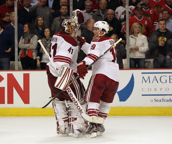 Mike Smith (left) and Shane Doan (right) celebrate a victory this postseason.