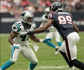 Captain Munnerlyn, covering the Houston Texans' much taller Andre Johnson, has never met a challenge—or a receiver—he thought was too big.