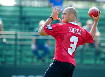 Mike Kafka looks to be the favorite to backup Michael Vick