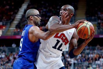 Tony Parker and Kobe Bryant battle it out.