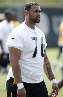 PITTSBURGH, PA - MAY 04:  Second round draft pick Mike Adams #76 of the Pittsburgh Steelers works out during their rookie minicamp at the Pittsburgh Steelers South Side training facility on May 4, 2012 in Pittsburgh, Pennsylvania.  (Photo by Jared Wickerh
