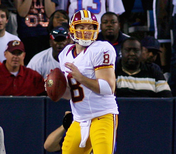 ORCHARD PARK, NY - AUGUST 09:  Rex Grossman #8 of the Washington Redskins looks to pass against the Buffalo Bills at Ralph Wilson Stadium on August 9, 2012 in Orchard Park, New York.  (Photo by Rick Stewart/Getty Images)