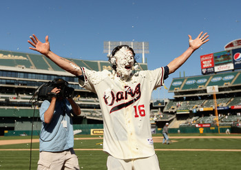 Josh Reddick receives the pie in the face after producing the winning run.