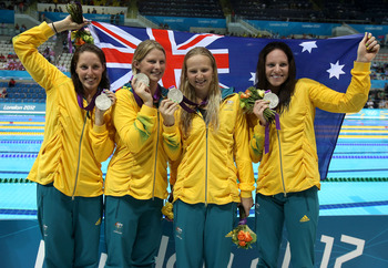 Australians earned medals in each women's freestyle swimming relay.