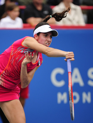 MONTREAL - AUGUST 10:  Christina McHale serves to Aleksandra Wozniak of Canada during the third round at the Rogers Cup at the Uniprix Stadium on August 10, 2012 in Montreal, Quebec, Canada.  (Photo by Robert Laberge/Getty Images)