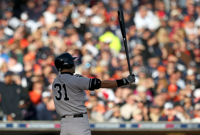 DETROIT, MI - OCTOBER 18:  Ichiro Suzuki #31 of the New York Yankees bats against the Detroit Tigers during game four of the American League Championship Series at Comerica Park on October 18, 2012 in Detroit, Michigan.  (Photo by Jonathan Daniel/Getty Im