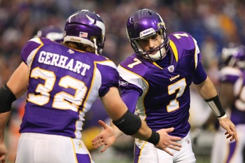Vikings RB Toby Gerhart and QB Christian Ponder.