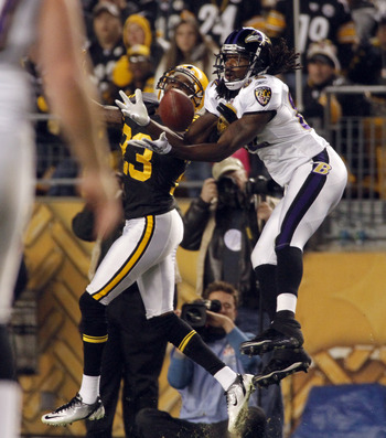 PITTSBURGH, PA - NOVEMBER 6:   Torrey Smith #82 of the Baltimore Ravens makes a catch against Keenan Lewis #23 of the Pittsburgh Steelers during the game on November 6, 2011 at Heinz Field in Pittsburgh, Pennsylvania.  (Photo by Justin K. Aller/Getty Imag