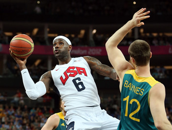 LeBron did it all against the Aussies, even one-handed.