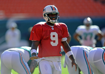 Aug. 4, 2012;  Miami, FL, USA; Miami Dolphins quarterback David Garrard (9) during a scrimmage at Sun Life Stadium. Mandatory Credit: Steve Mitchell-US PRESSWIRE