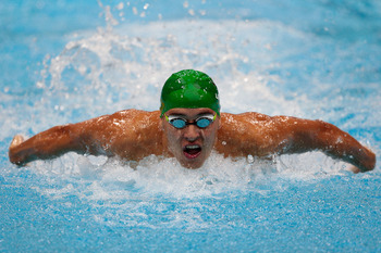 South Africa's Chad le Clos beat Michael Phelps to the wall in the 200-meter butterfly.