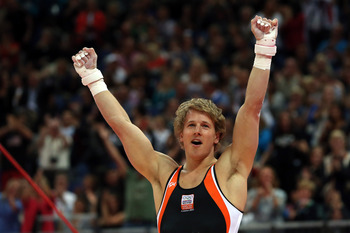 Epke Zonderland pulled off the biggest upset in men's gymnastics with a nearly perfect high bar routine.