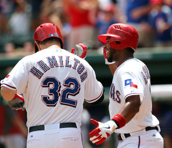 Josh Hamilton belts one out to add to his HR total.