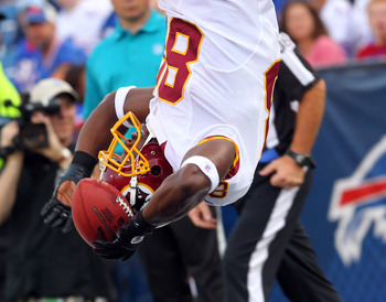 Garcon celebrates a Robert Griffin III touchdown pass with a flip into the end zone.