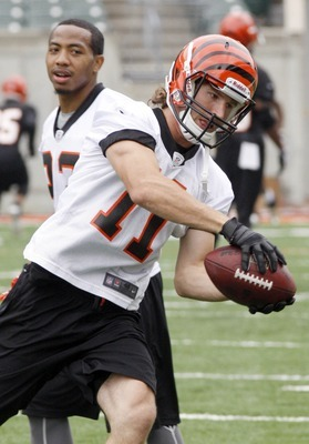 May 22, 2012; Cincinnati, OH USA; Cincinnati Bengals wide receiver Jordan Shipley (11) catches a pass during organized team activities at Paul Brown Stadium. Mandatory Credit: David Kohl-US PRESSWIRE