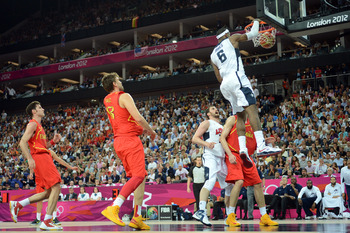 Lebron soars above Spain's D in the gold-medal clinching win.
